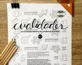Diccionario básico de señas en español, ilustrado, cualidades, libro de actividades, workbook. Pinta y colorea, plantillas de trabajo