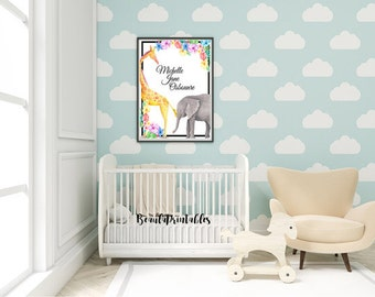 Elephant and Giraffe Print Poster, - Personalized Name Nursery Print, Baby Print, Baby Room - Home Wall Print Poster Instant Download