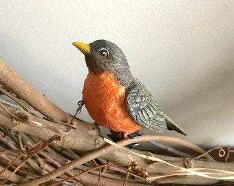 2Pk Robins, Clip On Bird Decorations, Wreath Decoration, Bird Cage Decoration, Birdhouse decoration