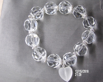 B1248 Clear Glass Beaded Bracelet with frosted Heart charm.