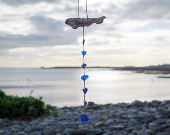 Rare blue sea glass mobile / sun catcher with natural driftwood and genuine Irish Sea tumbled sea glass