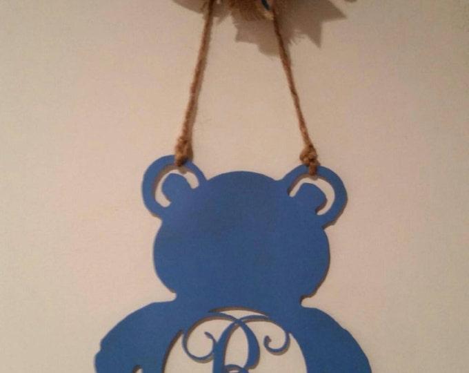 Monogram Teddy Bear, Door Wreath, Wall Sign, Baby shower, Nursery, Hospital door, Baby Shower, Nursery Decor, Newborn gift idea, Nursery