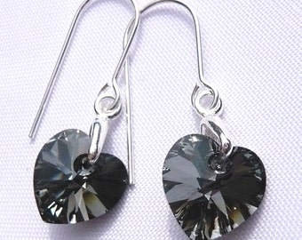 Sterling Silver Silver Night Dark Grey Black 10mm Heart Crystal Hook Earrings made with Swarovski Elements  gift for her drop dangle present