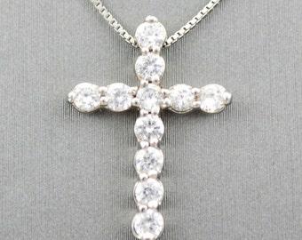 WHITE  gold  diamond  cross necklace, diamond cross, gold necklace