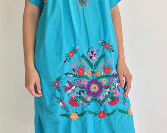 Vintage Blue embroidered Market Dress | Vintage Summer Beach Dress | Mexican Embroidered Blue Cotton Dress