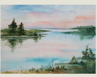 """ORIGINAL Watercolor painting, watercolor landscape painting, Original art, Summer landscape, Sunrise over the river, 10 1/2""""x14 1/2"""""""