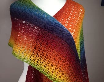 Hand knit scarf, multicolor scarf, lightweight scarf, rainbow scarf, lacy scarf, summer scarf, hand knit wrap, multicolor wrap, rainbow wrap