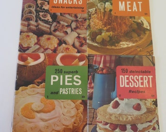 Lot of 4 Culinary Arts Institute Cookbooks, 1970s Cookbook Series - Snacks (#1), Meat (#4), Pies (#5) and Desserts (#12)