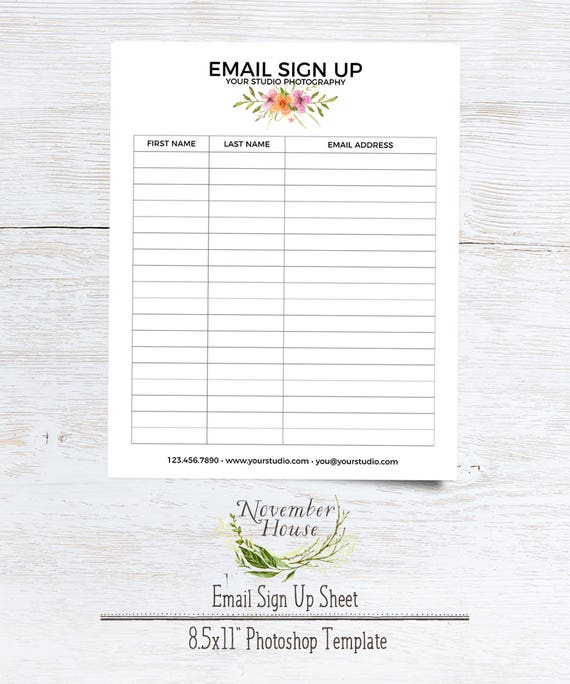 Email Sign Up Sheet, Photography Forms, Plus Studio Stationery Template,  Instant Download  E Mail Sign Up Sheet