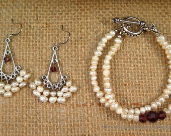 Freshwater Pearl & Brown Crystal Double-Strand Bracelet and Chandelier Earrings in Silver -- FREE SHIPPING!!!