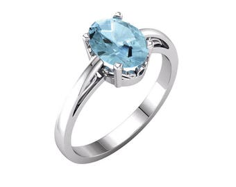 Natural Aquamarine Ring Sterling Silver / Aquamarine Ring Silver / Aqamarine Jewelry