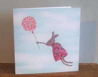 Some Bunny Loves You greeting card, fun greeting card, easter card, rabbit, balloon