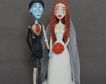 Corpse Bride Wedding cake topper Corpse Groom Handmade Cake Topper Tim Burton Victor and Emily