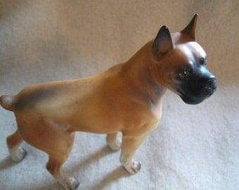 Boxer Dog Vintage Figurine Large Hard Plastic 5 1/2 inches tall Boxer Dog Decor Free Shipping