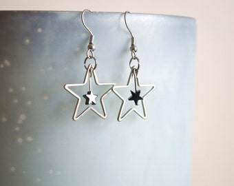 Double Metal Star Dangle Earrings
