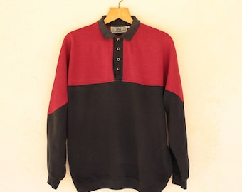Vintage Red And Black Collared Jumper - Size Large