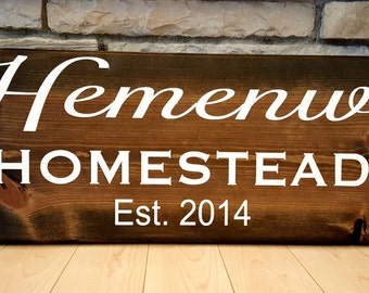 Personalized homestead rustic farmhouse family established wood sign