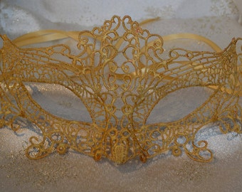 Gold Lace Masquerade Mask - Gold Satin Ribbon Ties Weddings, New Year's, Valentine's Day Gift, Masquerade Balls, Proms, Christmas Party
