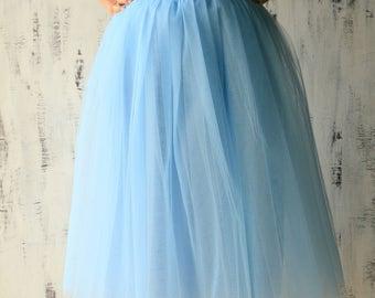 Dusty Blue Knee length Tulle skirt - Wedding bridesmaid skirt - TUTU skirt - Photoshoot skirt - Pale blue skirt - Knee length skirt