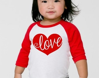 kids valentines day shirts love shirt toddler girl heart raglan tee youths valentines - Girls Valentine Outfits