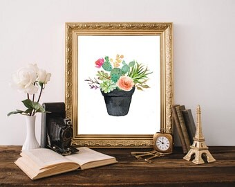 Floral cactus art, floral succulent art, cactus print, potted cactus, watercolor succulent, watercolor cactus, cactus printable,cactus decor