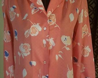 1970's Floral Blouse. Size 8
