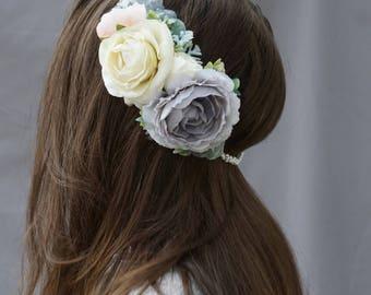 Pearl flower crown, freshwater pearl headpiece, flower crown wedding, bridal headpiece, floral crown