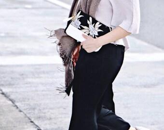 Minimalist Bag / Floral fabric bag / handmade / Minimal crossbody bag / clutch / two ways