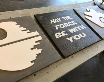 star wars wooden triptych