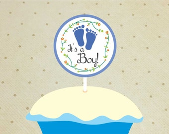 Printable Baby Shower Cupcake Toppers – Baby Shower Decorations Boys – Footprints Cupcake Toppers - It's a Boy Cupcake Toppers.