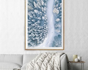 Skiing Snowcapped Trees Print, Aerial Photography, Abstract Large Wall Art Decor, Colour Fine Art Photography, Art Prints, Landscape
