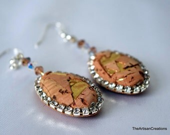 Hand Made Sardinian Cork Earring, Natural Material with Hand Crafted Details