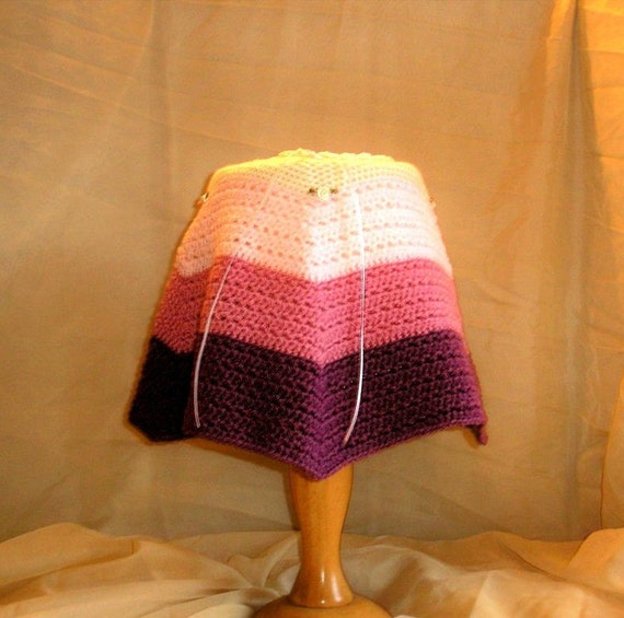 Baby Girl, cosy, warm, Poncho crochete in soft cream & tiered pink wool. Ribbon Tie neck, Rose bud detail. (Age 3-9 months)