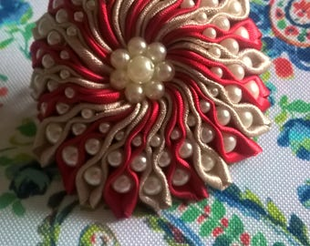 Red and Taupe Flower with Beads on French Barrette