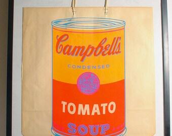 Vintage 60's Andy Warhol Campbell's Tomato Soup Bag 1966 Serigraph Framed Original Pop Art Rare