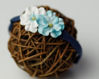 Baby blue flower headband
