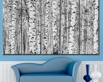 Black and White, Birch, Picture of a birch, Birch forest, Birch on canvas, Picture trees, Birch Art Decoration, Forest decor, Forest canvas