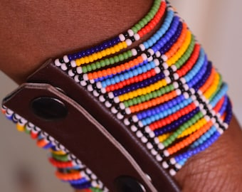 African Maasai beaded bracelet  | Multi color bracelet | Press buttons fastening | Gift for Her