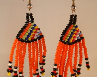 Short Beaded Tassle Earrings