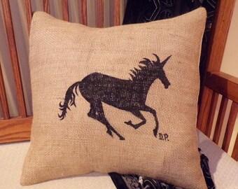 burlap pillow unicorn burlap pillow home decor throw pillow with hand