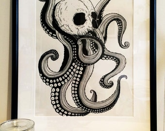Illustration Octopus skull paper Fine Art Poster Print A3
