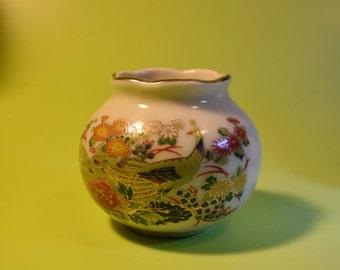 Vintage OMC Japans Mini Vase Rose Gold Trim Peacock Floral Pattern