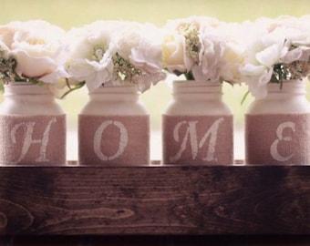 HOME Mason Jar Centerpiece, Rustic, Farmhouse, Floral Arrangement, Decorative Piece, Wooden Box, Rustic, Home Decor, Dining Room, Flowers