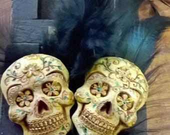 Handmade & Painted Sugar Skull Muerto Day Of The Dead Gothic Earrings Cosplay Mexican Steampunk