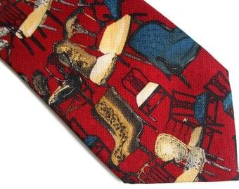 Vintage mens necktie, Mens necktie, Red necktie, Funny necktie, Chair necktie, Antonio Venice necktie, Classic necktie, Gift for him