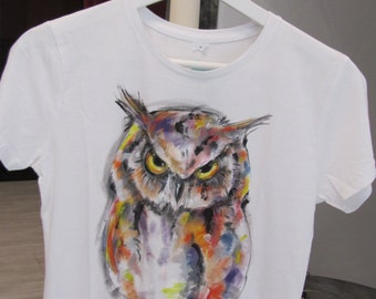 """Hand-painted T-shirt""""Owl"""",hand-painted clothing,unique model,100% cotton hand painted top,hand painted bird,unique gift for teenage girl"""