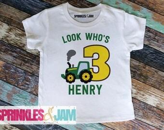 Tractor Construction 3rd Birthday Shirt, Tractor Second Birthday, Trucks Third Birthday, Boys Birthday Shirt