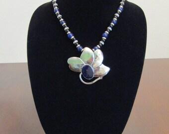 Blue Silver Flower Pendant Necklace