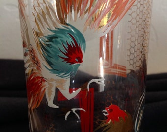 """Rare Fighting Rooster Glasses, set of 13, Vintage, 6"""" tall, Weird!"""