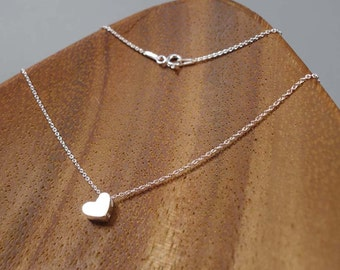 HEART, Sterling Silver Necklace, Sterling Silver Pendant, 3D,  HEART